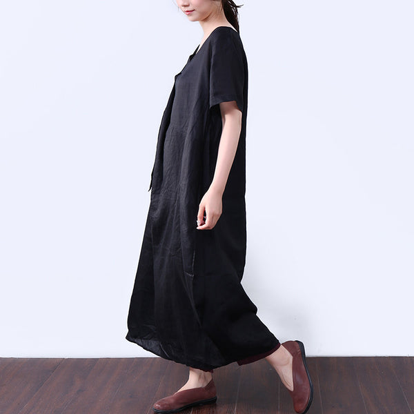 Baggy Pocket Strap Short Sleeves Women Black Dress - Buykud