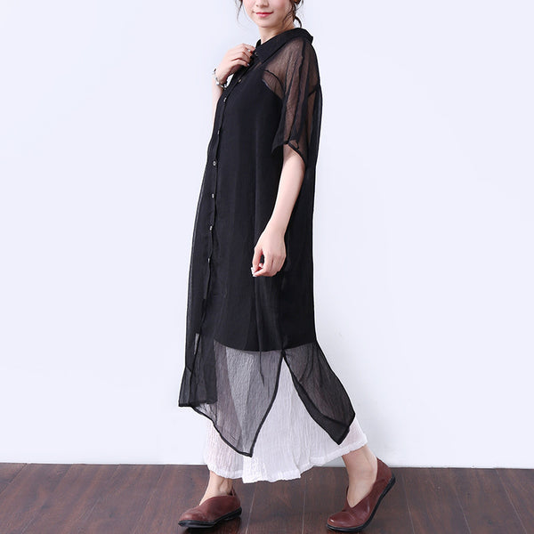 Solid Slit Button Elbow Sleeves Women Black Dress - Buykud