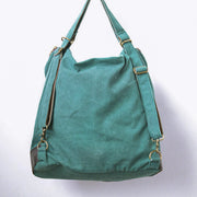 Women Canvas Casual Leather Green Backpack - Buykud
