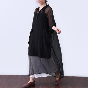 Cotton Button Elbow Sleeves Women Black Dress - Buykud