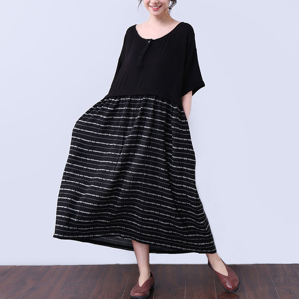 Splicing Printing Women Elbow Sleeves Black Dress - Buykud