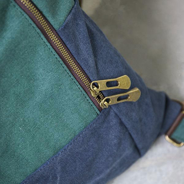 Casual Women Canvas Leather Green Blue Shoulder Bag - Buykud