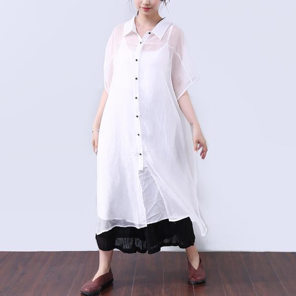 Loose Transparent Button Commuter Dress