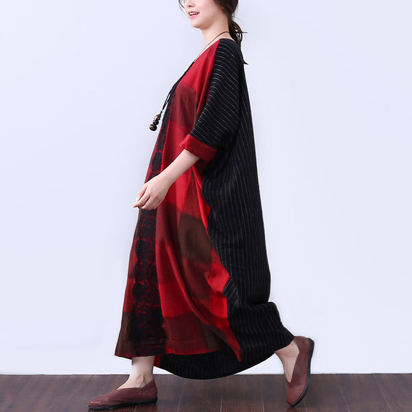 Linen Women Summer Loose Casual Splicing Stripe Red Dress - Buykud
