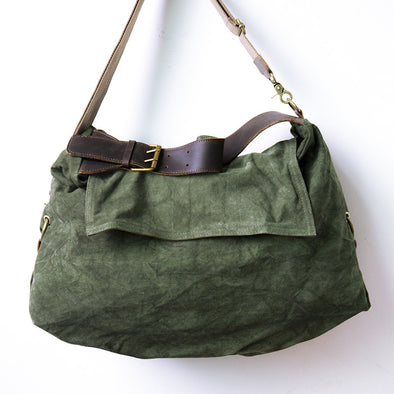 Women Casual Canvas Green Messenger Bag - Buykud