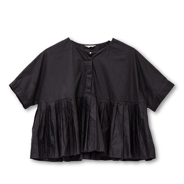 Splicing Round Neck Short Sleeves Pleated Women Shirt