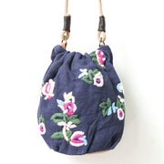 Ethnic Embroidery Literature Blue Shoulder Bag - Buykud