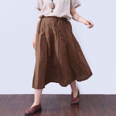 Preppy Chic Strap Pocket Mid-calf Women Coffee Skirt - Buykud