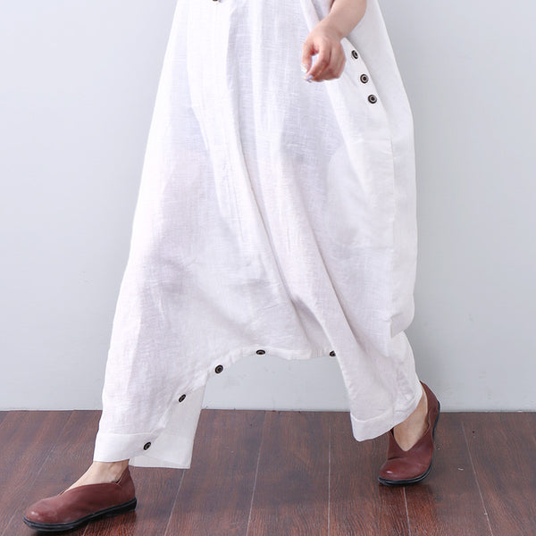 Baggy Solid Pocket Button Ankle-length Women White Jumpsuits