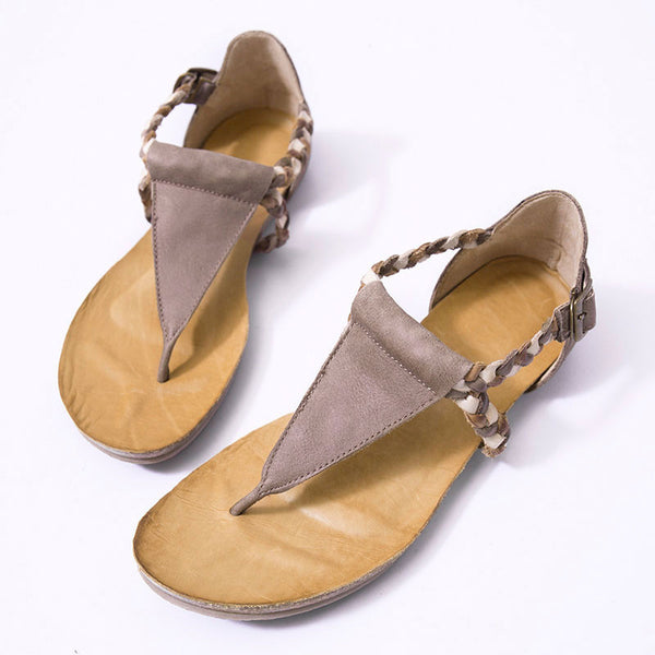Stylish Cowhide Leather Women Summer Flat Sandals - Buykud