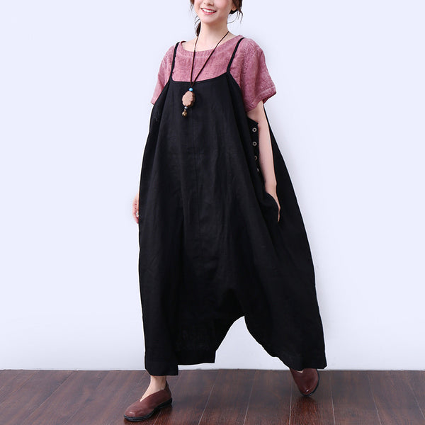 Baggy Solid Pocket Button Ankle-length Women Black Jumpsuits