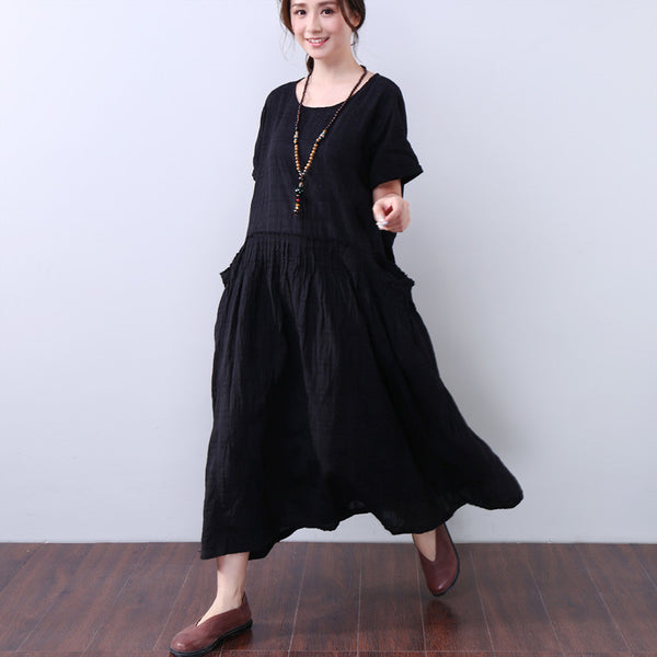 Casual Loose Short Sleeves Women Black Dress