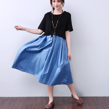 Splicing Lacing Casual Loose Short Sleeves Blue Dress - Buykud