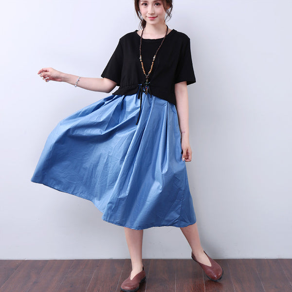Splicing Lacing Casual Loose Short Sleeves Blue Dress