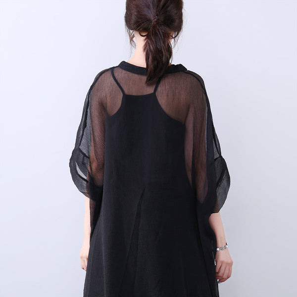 Summer Women V Neck Black Shirt - Buykud