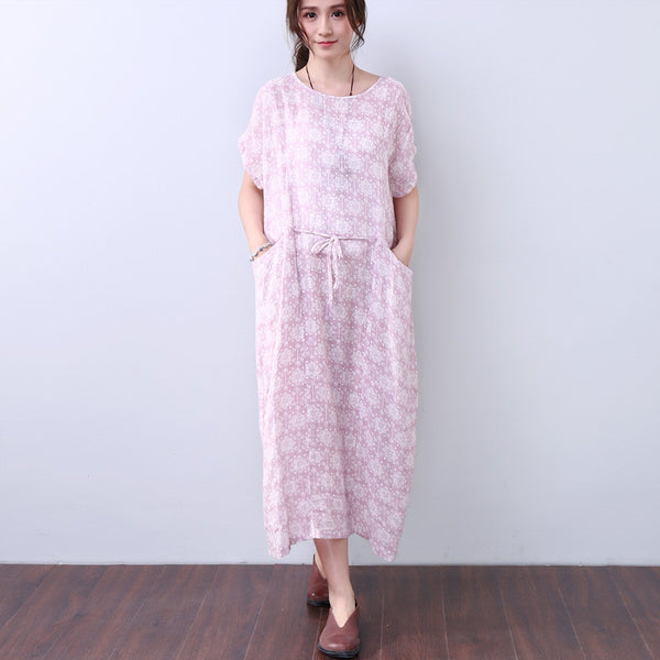 Printing Women Loose Pocket Pink Short Sleeves Dress