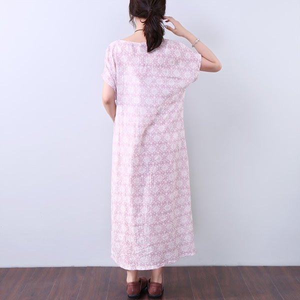 Printing Women Loose Pocket Pink Short Sleeves Dress - Buykud
