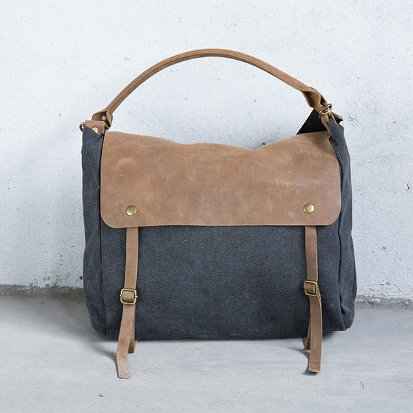 Splicing Casual Canvas Leather Gray Shoulder Bag