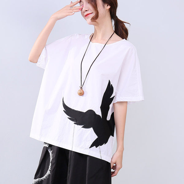 Summer Women Embroidered Loose Short Sleeve White Shirt - Buykud