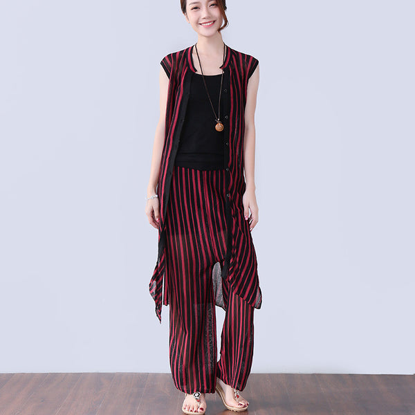 Loose Stripe Women Splitting Summer Thin Red Suits(Pants+Shirt)