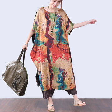 Irregular Slit Printing Elbow Sleeves Women Coffee Dress - Buykud