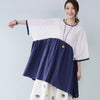 Preppy Hollow Three Quarter Sleeves Women Blue Shirt - Buykud