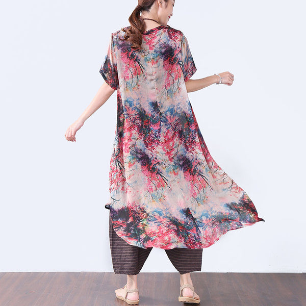 Stylish Printing Button Short Sleeves Women Red Dress