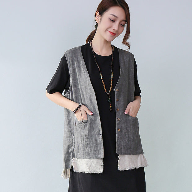 8e65d131d568 Dainty Splicing Pocket Sleeveless Women Gray Waistcoat - Buykud