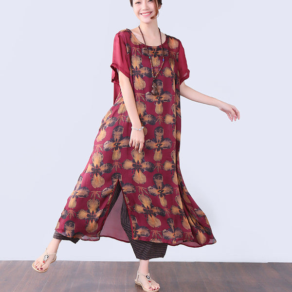 Summer Women Floral Loose Chic Short Sleeve Red Dress - Buykud