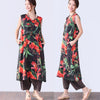 Retro Printing Split Sleeveless Women Black Vest Dress - Buykud