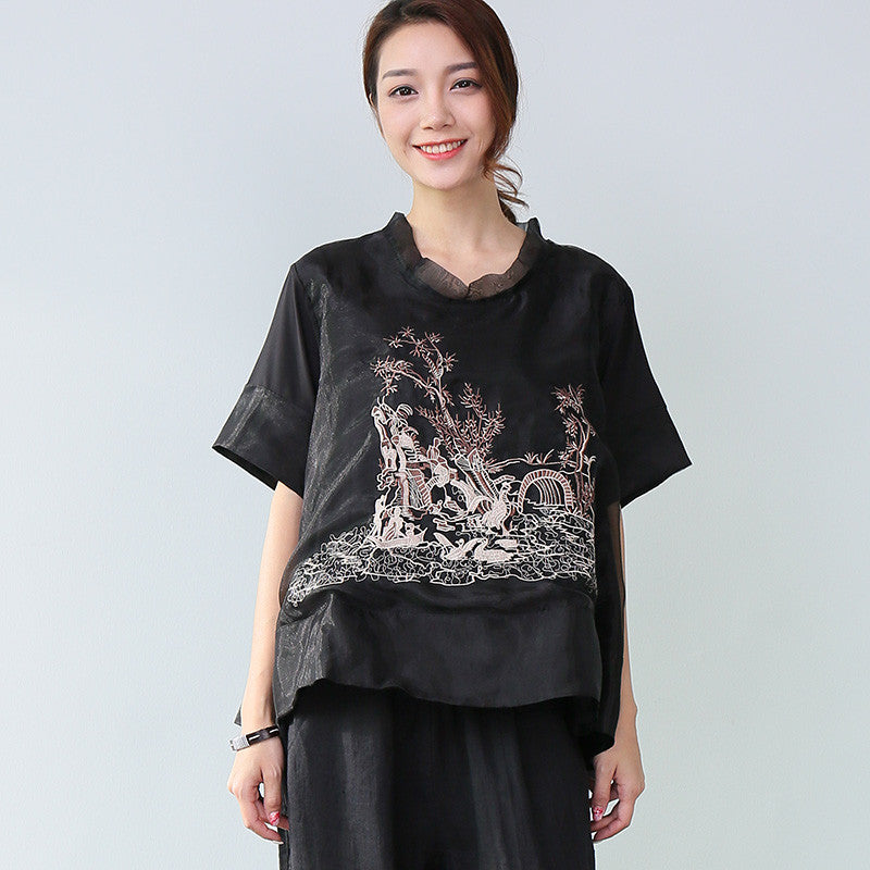 Women Casual Embroidered Short Sleeve Black Shirt - Buykud