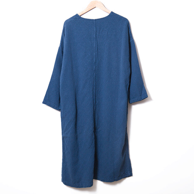 Chic Frogs V Neck Short Sleeves Linen Navy Blue Women Dress - Buykud
