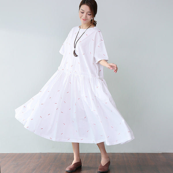 Cotton Applique Pleated Elbow Sleeves White Dress