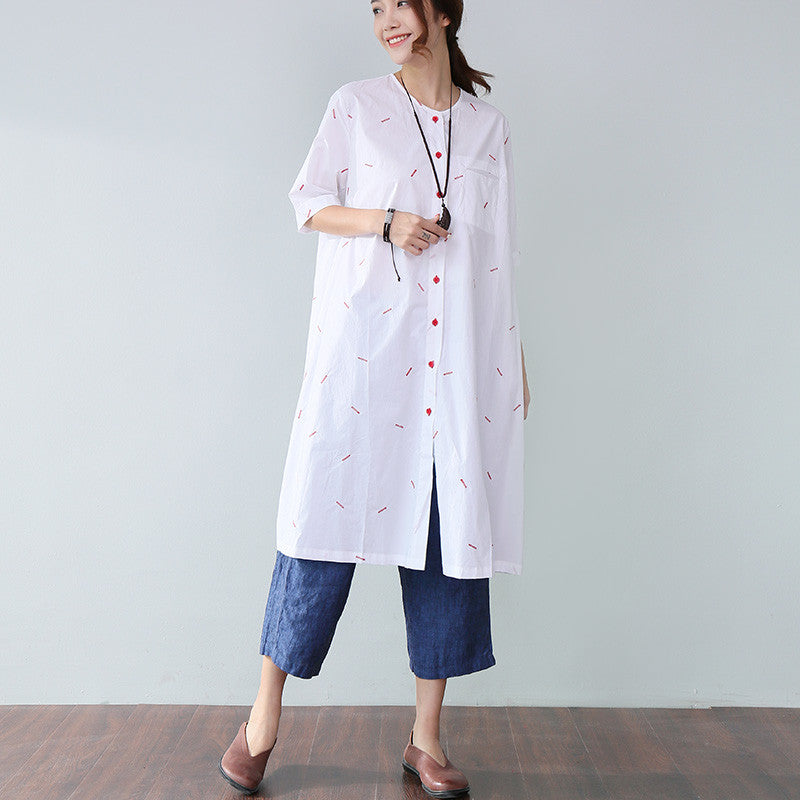 Loose Applique Pocket Elbow Sleeves White Dress