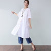 Loose Applique Pocket Elbow Sleeves White Dress - Buykud