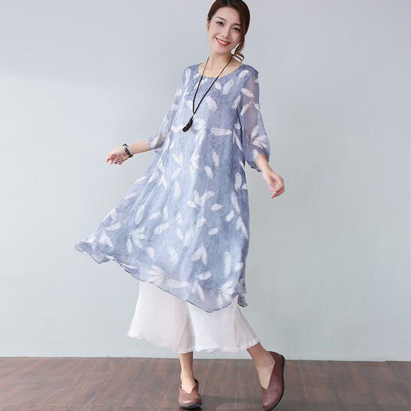 Stylish Printing Lining Elbow Sleeves Blue Dress