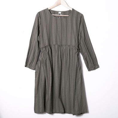 Autumn Round Neck Long Sleeve Stripes Splicing Dress For Women - Buykud