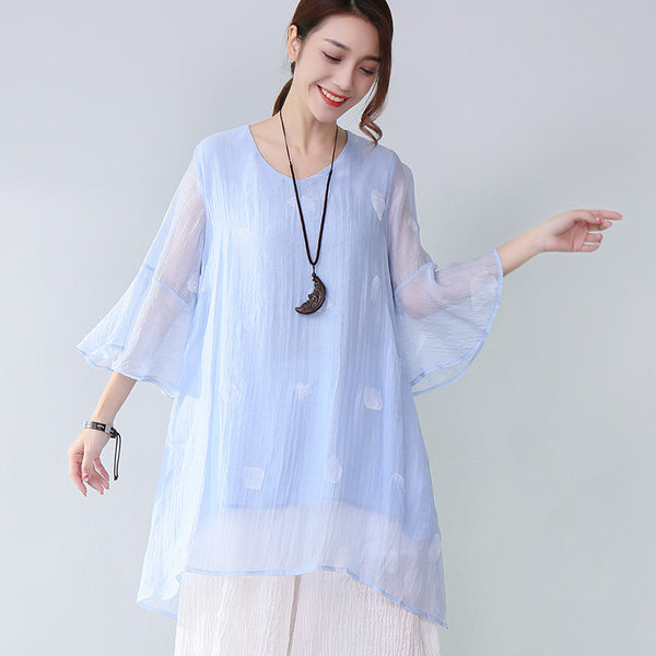 Graceful Printing Lining Three Quarter Sleeves Light Blue Shirt - Buykud
