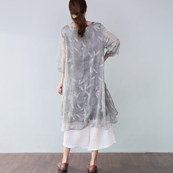 Stylish Printing Lining Elbow Sleeves Gray Dress - Buykud