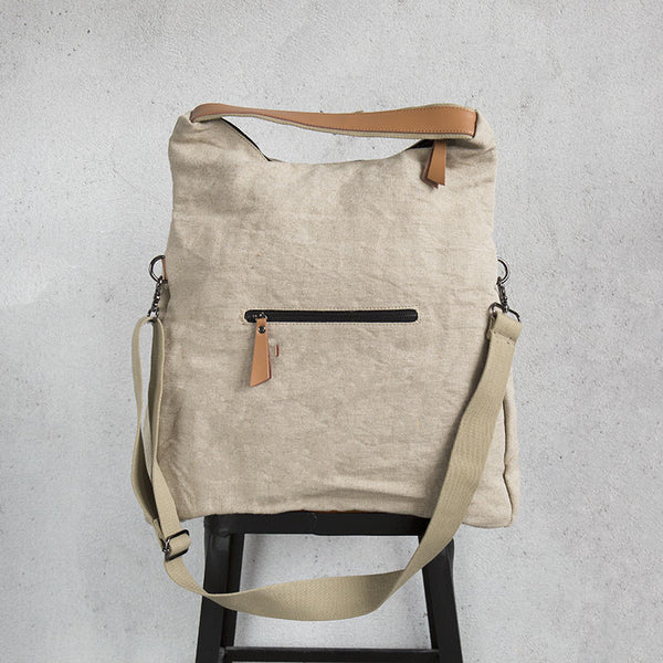 Versatile Canvas Applique Women Beige Messenger Bag - Buykud