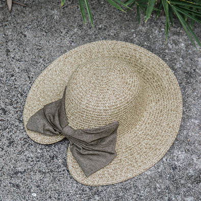 Fashionable Women Retro Bow Khaki Big Brim Sun Hat - Buykud