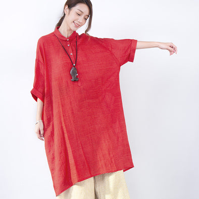 Loose Casual Summer Linen Women Red Dress - Buykud