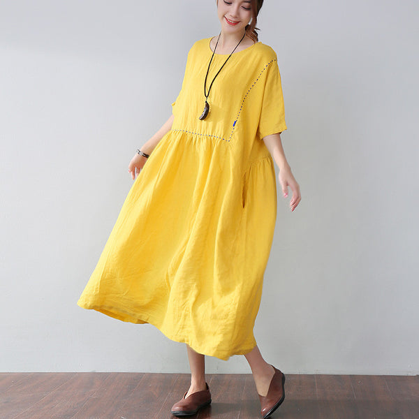 Loose Embroidered Pocket Elbow Sleeves Yellow Dress