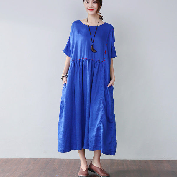 Loose Embroidered Pocket Elbow Sleeves Blue Dress