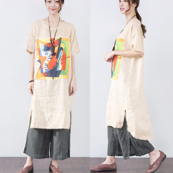 Applique Printing Short Sleeves Women Linen Dress - Buykud