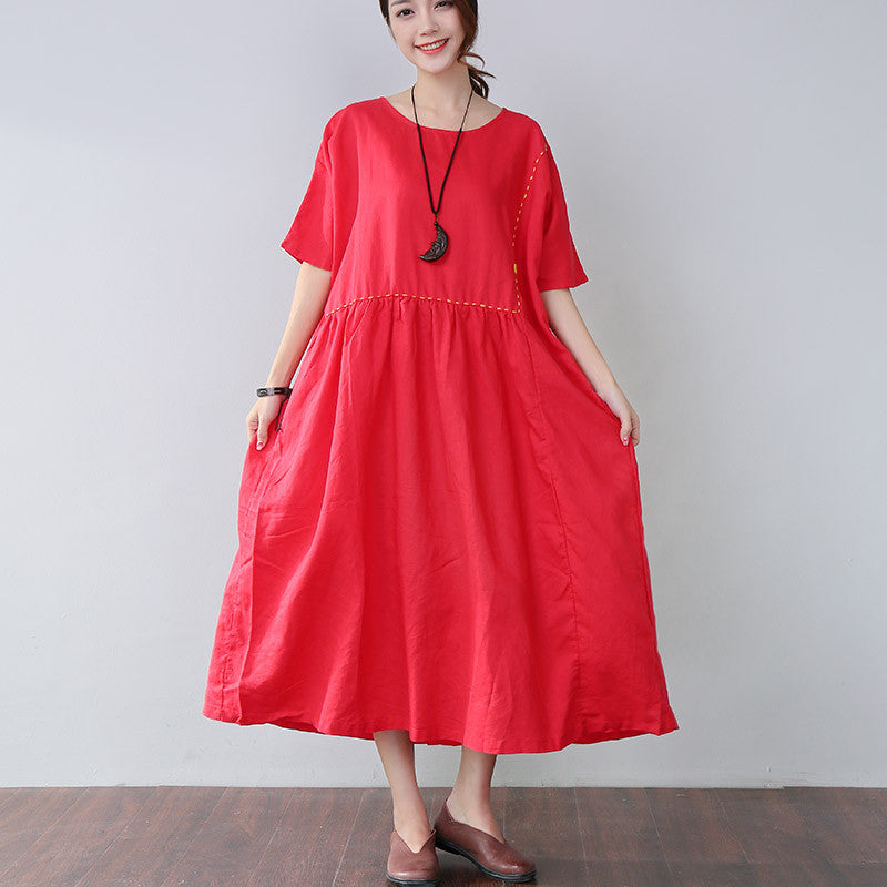 Loose Embroidered Pocket Elbow Sleeves Red Dress - Buykud