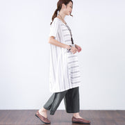 Summer Short Sleeves Women Casual White Dress - Buykud