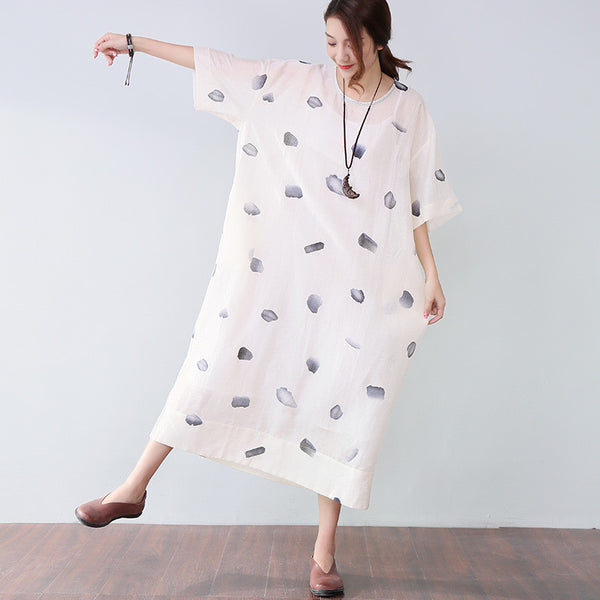 Baggy Printing Elbow Sleeves Women White Dress