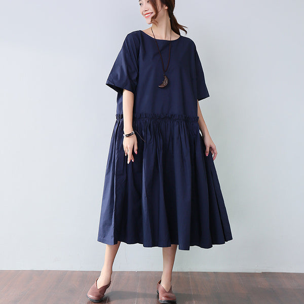 Solid Casual Folded Short Sleeves Navy Blue Dress