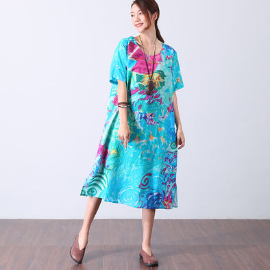 Casual Ramie Short Sleeve Colorful Printing Loose Women Blue Dress - Buykud
